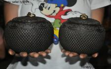 Collect Antiques Old Chinese Rosewood wood Hand carved Tanks Crock pot jar Pair