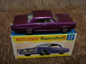 VERY RARE Matchbox SUPERFAST No 22 PONTIAC DARK PURPLE MINT-BOXED