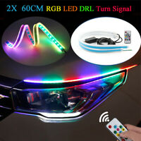 2X RGB 60CM Slim Sequential Flexible LED DRL Turn Signal Light Strip Headlight