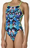 SPEEDO Turnz Printed Tie Back Blue Black White Pink Yello Swim Suit Womens 10 36