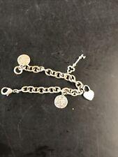 "Tiffany & Co. Sterling Silver Charm Bracelet With Lock & Key & Address Charms 8"""