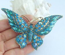 Vintage Butterfly Brooch Pin Turquoise Austrian Crystal Pendant Gift EE04538C5