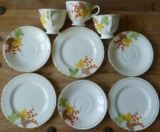 VINTAGE CHINA DELPHINE Three Pretty TRIO SETS Tea Plates, Cups & Saucers Gilded