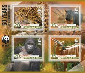 Stamps  Fauna 2021  60 years WWF Rhino, Panda, Monkey, Tiger, Roe Deer
