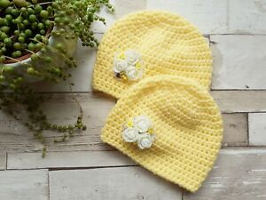 Newborn baby hat, yellow crochet beanie, Baby Photography Props. Floral baby hat
