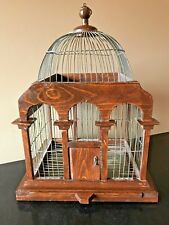 Vintage Wood and Metal Wire Dome Bird Cage Rectangular House with Slide Out Tray