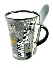 Gris Capuchino Piano Taza Y Cuchara Teclado Jugador Taza De Café actual música Regalo