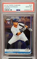 2019 Topps Chrome Update Yankees THAIRO ESTRADA RC Card PSA 10 GEM MINT Pop 23