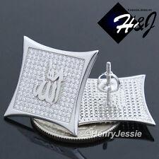 925 STERLING SILVER JUMBO 22MM MUSLIM ALLAH ICED SCREW BACK STUD EARRING*E113