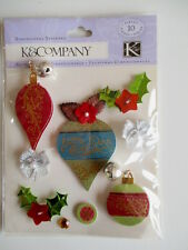 K&CO DIMENSIONAL STICKERS - MERRY CHRISTMAS decorations baubles jingle bells