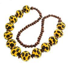 "27"" HANDBEADED AFRICAN SAFARI YELLOW BLACK BROWN WOOD BEADS necklace"