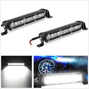 """2 Pcs 8"""" 120W Slim LED 1-Row Car SUV Work Light Bar Spot Beam Lamp Waterproof"""