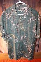 Batik Bay Green Palm Short Sleeve Large Rayon Men's Shirt