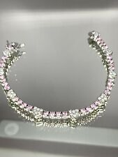 """R CZ QVC Diamonique Pink Bracelet With Heart Detail 7.5"""" Excellent Condition"""