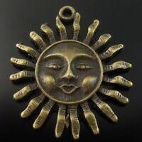 14X Vintage Style Bronze Tone Alloy Smile Sun Face Pendant Charms 30*30*4mm