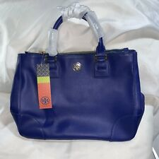 85) NWT cobalt blue saffiano leather TORY BURCH ROBINSON dbl zip tote BAG