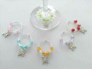 6 Silver Plated butterfly wine glass charms ideal dinner party gift