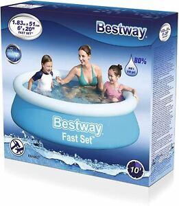 """Bestway 6ft x 20"""" Fast Set Swimming Pool Paddling Water Garden Fun Kids"""