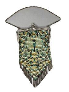ANTIQUE ART DECO MANDALIAN ENAMEL MESH PURSE GREEN TEAL BLACK & GOLD PERSIAN