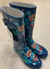 Womens Norty Rain Boots  Size 10 Floral Blue NWOT~Lovely!