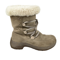 ULU Womens Event Waterproof Winter Boots Tan Suede Leather Sherpa Lined US 7-7.5
