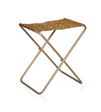 New Stainless Steel Bench Hair On Tiger printed Leather Seat For Home Decoration