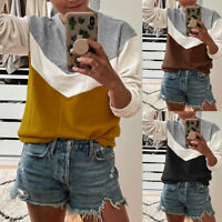 Womens Colour Block Sweatshirt Tunic Tops Ladies Long Sleeve Casual Blouse Shirt
