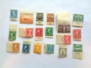 Eighteen (18) early US Stamps Mint NH - LH Scott #'s between 264 & 568 - Plate #