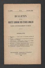 █ Bulletin Société LORRAINE Etudes Locales 1929 N°3 █