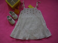 NWT GYMBOREE Sweet Nothings Dress & Crib Shoes 6 12 $49 White Pink Pea Beach TDF