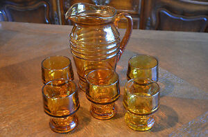 Amber Colored Glass Pitcher with Set of Cup Water Serving Matching Tumbler w/ &