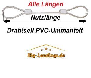 Drahtseil mit Öse Stahlseil in PVC Um. 2,3,4,6mm Warensicherungsseil 2x Schlaufe