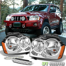 For 05-07 Jeep Grand Cherokee Replacement Headlights Headlamps+Smd Bumper Fog