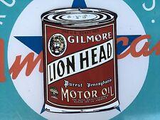 top quality GILMORE lion head MOTOR OIL porcelain coated 18 GAUGE steel SIGN