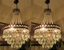 PAIR Antique French Basket style Swarovski Crystal Chandelier Light 1940's 13 in