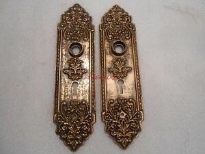 "Pair of Antique Cast Iron Door Knob Skeleton Key Escutcheon Back Plates 8 3/4"""
