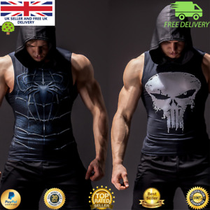 Mens Long Sleeve Compression Hoody Vest Top for Gym Cosplay Running Superhero