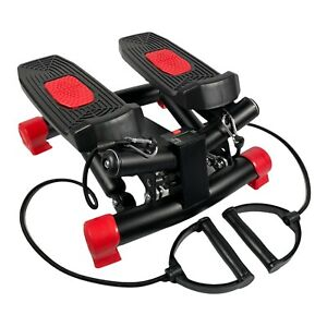 Mini Swing Stepper With Resistance Bands Digital Steps Counter Red and Black