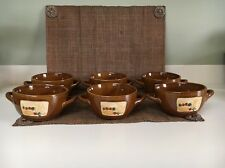 Vintage 70s Heavy Soup Serving Bowls With Handles Brown Ceramic