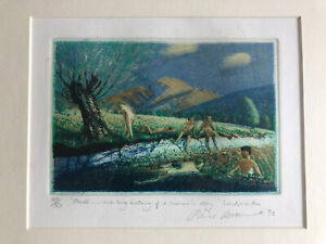 "PIERS BROWNE b1949 Limited Ed ETCHING ""...bathing of a summer's day"" 40/50"