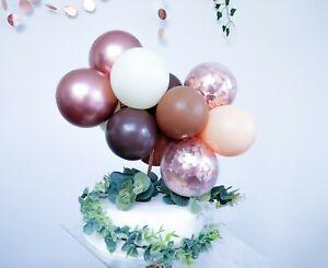 BALLOON CAKE TOPPER GARLAND ARCH BIRTHDAY DECOR BLUSH CREAM ROSE GOLD CONFETTI