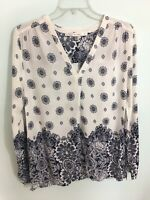 FUN 2 FUN NAVY BLUE WHITE PAISLEY TUNIC TOP BLOUSE 3/4 SLEEVES V Neck Medium