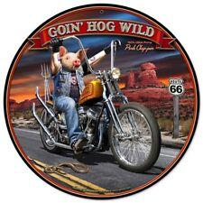 GOIN' HOG WILD Metal Sign by Larry Grossman - Harley chopper motorcycle bike