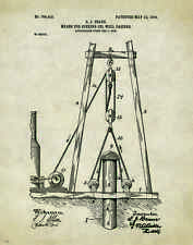 Oil Well Drilling Patent Poster Art Print Vintage Pump Drill Bit Rig Gas  PAT262