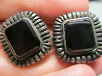 STERLING SILVER 925 ESTATE VINTAGE JM BLACK ONYX RIBBED EDGES CLIP ON EARRINGS