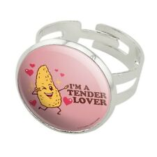 I'm a Tender Lover Chicken Nugget Funny Silver Plated Adjustable Novelty Ring