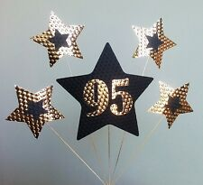 95th BIRTHDAY CAKE TOPPER. STARS, Gold and Black.