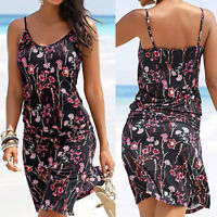Women Halter Neck Boho Floral Sleeveless Casual Mini Beachwear Dress Sundress GO
