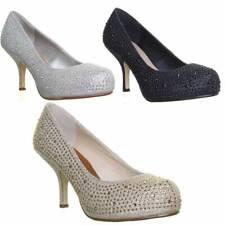 Womens Low Heel Diamante Encrusted Slip On Party Prom Dress Hidden Platform Size