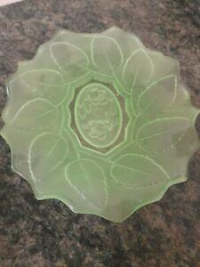 Stunning Vintage Green Frosted Art Deco Uranium Glass 3D Rose Design Fruit Bowl